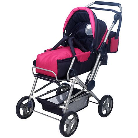 Buy John Lewis Dolls' 3-Way Combi Pram, Pink Online at johnlewis.com