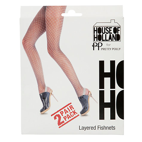 Buy Henry Holland Layered Fish-Net Tights, Pack of 2, Denim Online at johnlewis.com