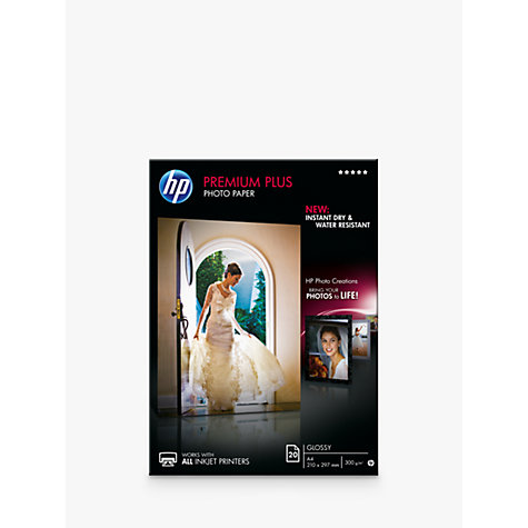 Buy HP CR672A Premium Plus Glossy A4 Photo Paper, 20 Sheets Online at johnlewis.com