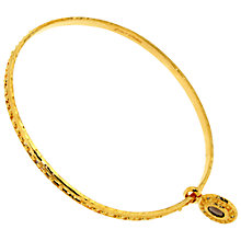 Buy Etrusca 18ct Gold Plated Bronze Textured Bangle with Smokey Quartz Charm, Gold Online at johnlewis.com