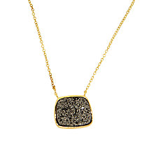 Buy Etrusca Drusy 18ct Gold Plated Bronze Rolo Chain Pendant Necklace, Grey/Gold Online at johnlewis.com