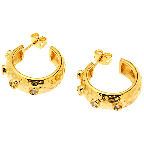 Buy Etrusca 18ct Gold Plated Bronze Hammered Cubic Zirconia Hoop Earrings, Gold Online at johnlewis.com