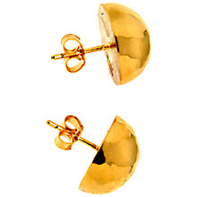 Buy Etrusca Hammered 18ct Gold Plated Bronze Round Button Stud Earrings, Gold Online at johnlewis.com