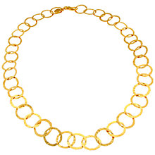 Buy Etrusca 18ct Gold Plated Bronze Hammered Flat Round Link Chain Necklace, Gold Online at johnlewis.com
