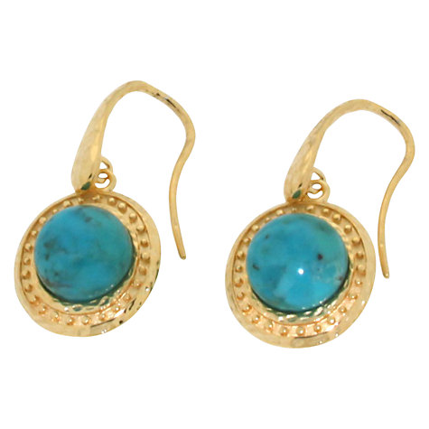 Buy Etrusca 18ct Gold Plated Bronze Hammered Domed Turquoise Drop Earrings, Gold Online at johnlewis.com
