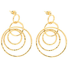 Buy Etrusca 18ct Gold Plated Bronze Hammered Interlocking Circle Drop Earrings, Gold Online at johnlewis.com