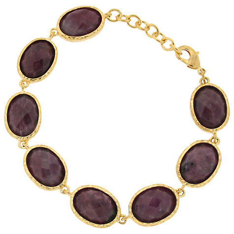 Buy Etrusca Ruby Zoisite Hammered 18ct Gold Bronze Bracelet, Gold/Purple Online at johnlewis.com