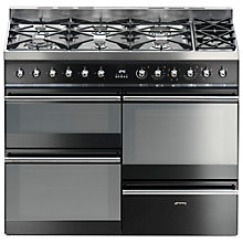 Buy Smeg SY4110BL8 Dual Fuel Range Cooker, Black Online at johnlewis.com