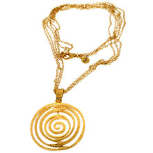 Buy Etrusca Multi Chain 18ct Gold Plate Hammered Spiral Pendant Necklace, Gold Online at johnlewis.com