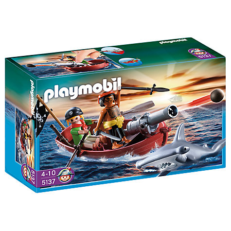 Buy Playmobil Pirates Pirate Rowing Boat and Shark Online at johnlewis.com