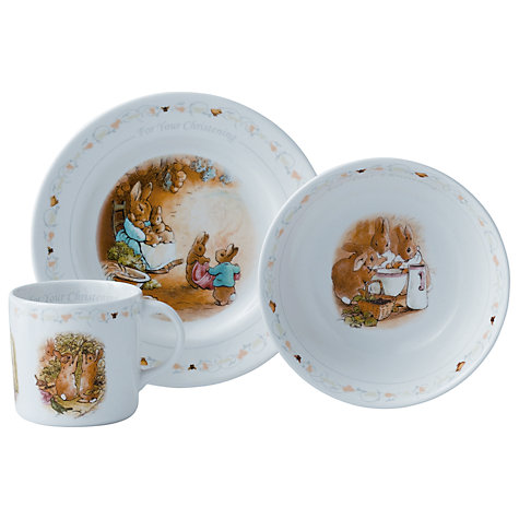Buy Wedgwood Peter Rabbit 3 Piece Christening Set Online at johnlewis.com