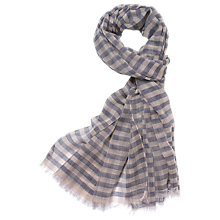 Buy Aquascutum Club Check Cotton Cashmere Scarf, Vicuna Online at johnlewis.com