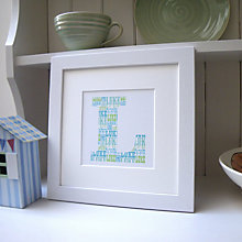 Buy Personalised Letter Print Oak Frame, Blue/Green Online at johnlewis.com