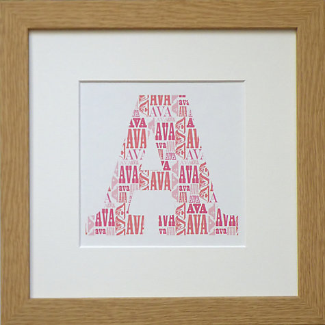 Buy Personalised Letter Print Oak Frame, Orange/Pink Online at johnlewis.com