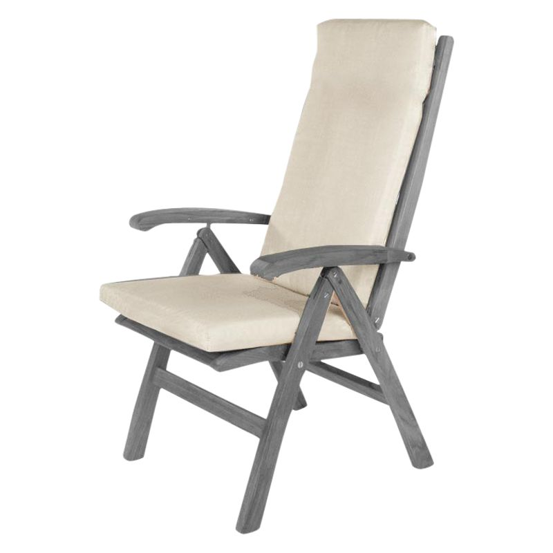 Barlow Tyrie High Back Outdoor Chair Cushion, White Sand