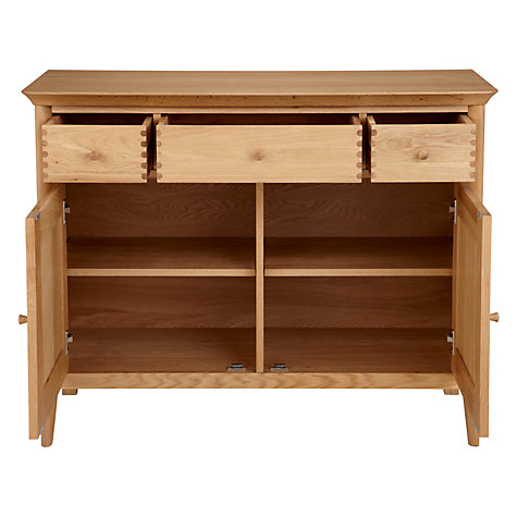 Buy John Lewis Essence Narrow 2 Door Sideboard, Oak, 114 x 49cm Online at johnlewis.com