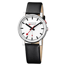 Buy Mondaine A468.30352.11SBB Unisex Evo Alarm Leather Strap Watch, Black / White Online at johnlewis.com