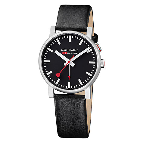 Buy Mondaine A468.30352.14SBB Unisex Evo Alarm Black Dial Leather Strap Watch, Black Online at johnlewis.com