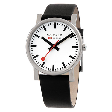 Buy Mondaine A660.30344.11SBB Unisex Round Leather Strap Watch, Black Online at johnlewis.com