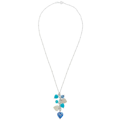 Buy Martick Mixed Heart Glass Pendant Necklace, Blue Online at johnlewis.com