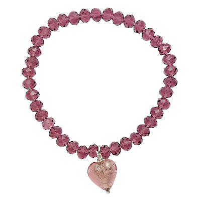 Martick Faceted Crystal Murano Heart Bracelet