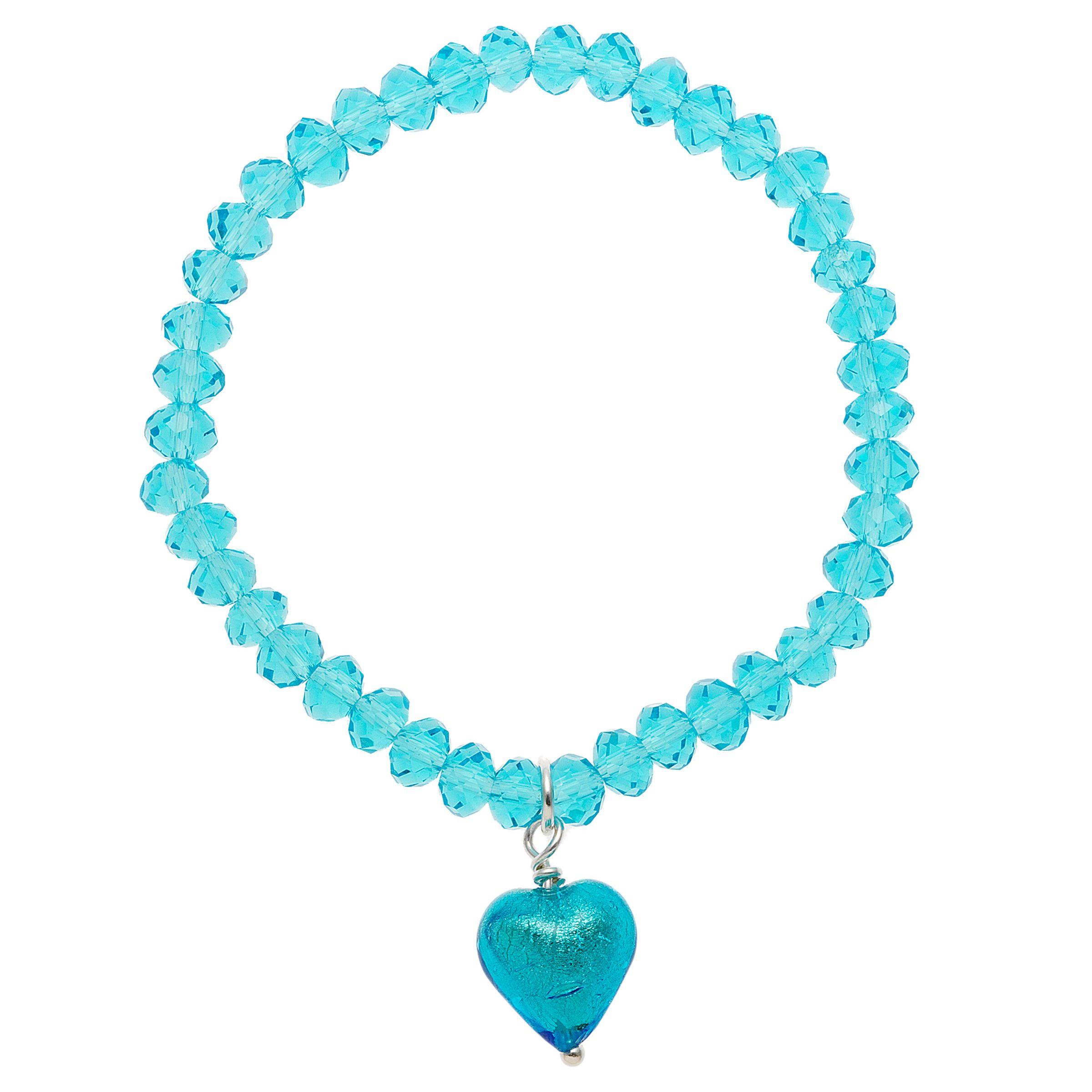 Martick Crystal Heart Drop Bracelet, Turquoise