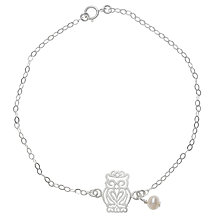 Buy Martick Silver and Pearl Owl Charm Bracelet, Silver Online at johnlewis.com
