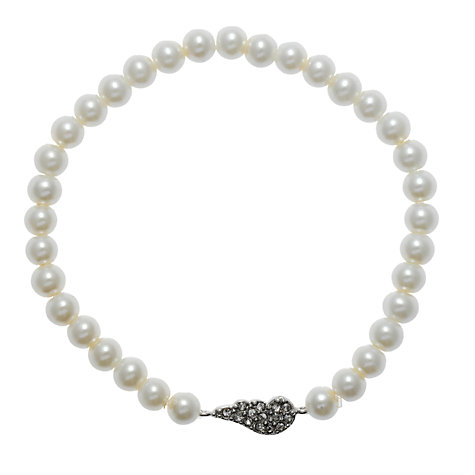 Buy Martick Faux Pearl and Diamanté Wing Bracelet, White Online at johnlewis.com