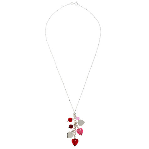 Buy Martick Mixed Red Glass Hearts Silver Pendant Necklace, Red Online at johnlewis.com