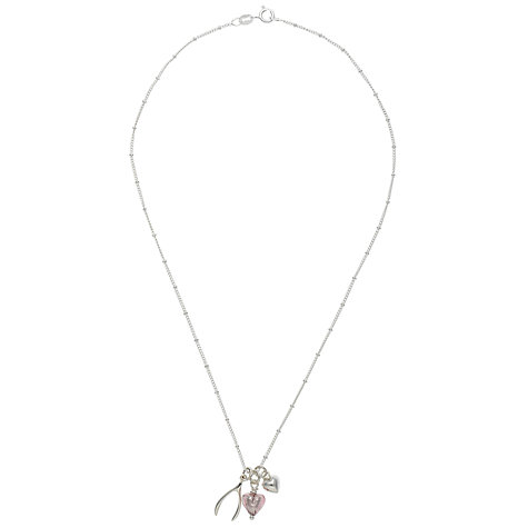 Buy Martick Silver Wishbone and Glass Heart Pendant Necklace, Silver/Pink Online at johnlewis.com