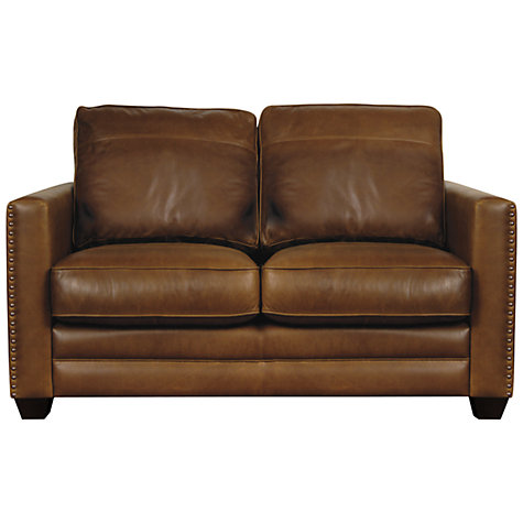 Buy John Lewis Hudson Small Leather Sofa with Dark Legs Online at johnlewis.com