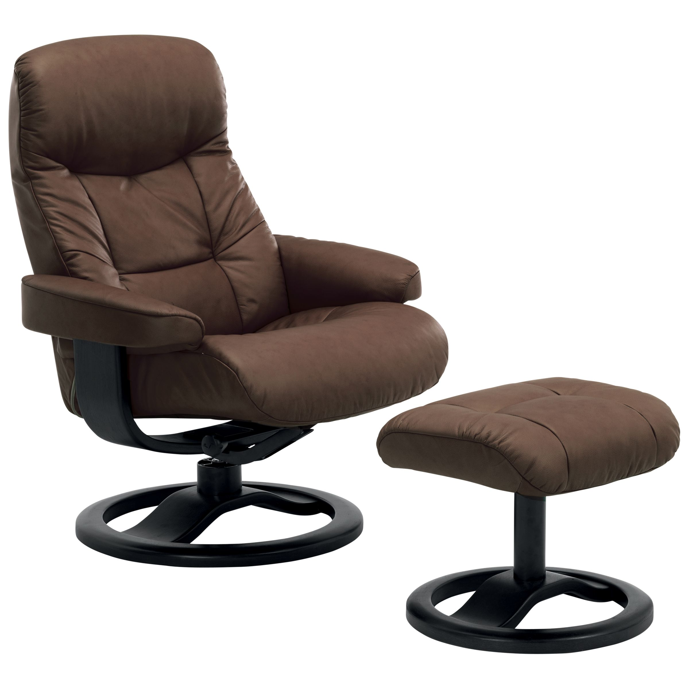 John Lewis Oslo Swivelling Recliner Armchair And Stool, Black Base, Walnut