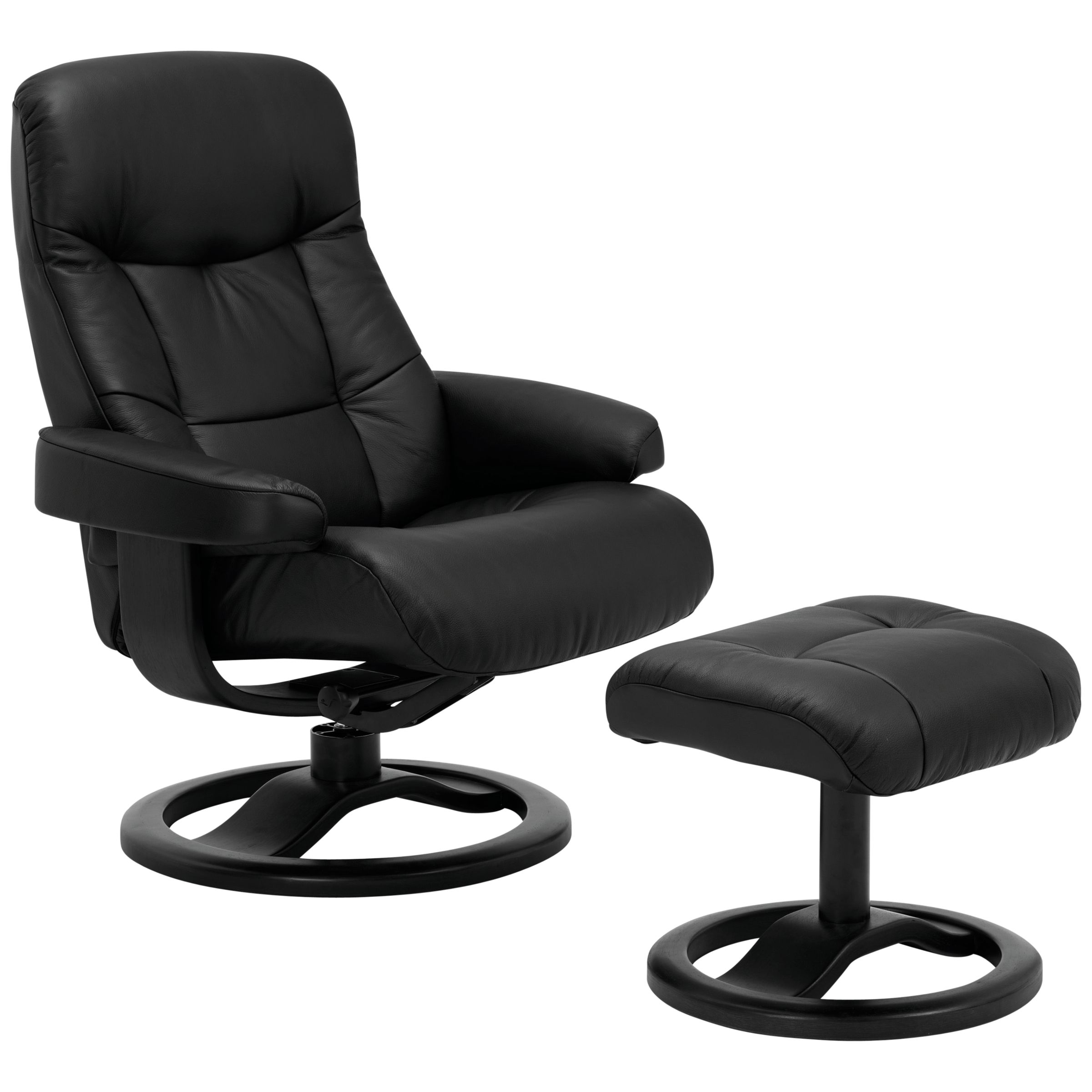 John Lewis Oslo Swivelling Recliner Armchair And Stool, Black Base