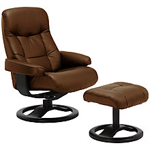 Buy John Lewis Oslo Swivelling Recliner Armchair and Stool, Black Base Online at johnlewis.com