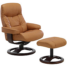 Buy John Lewis Oslo Swivelling Recliner Armchair and Stool, Espresso Base Online at johnlewis.com