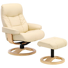 Buy John Lewis Oslo Swivelling Recliner Armchair and Stools, Natural Base Online at johnlewis.com
