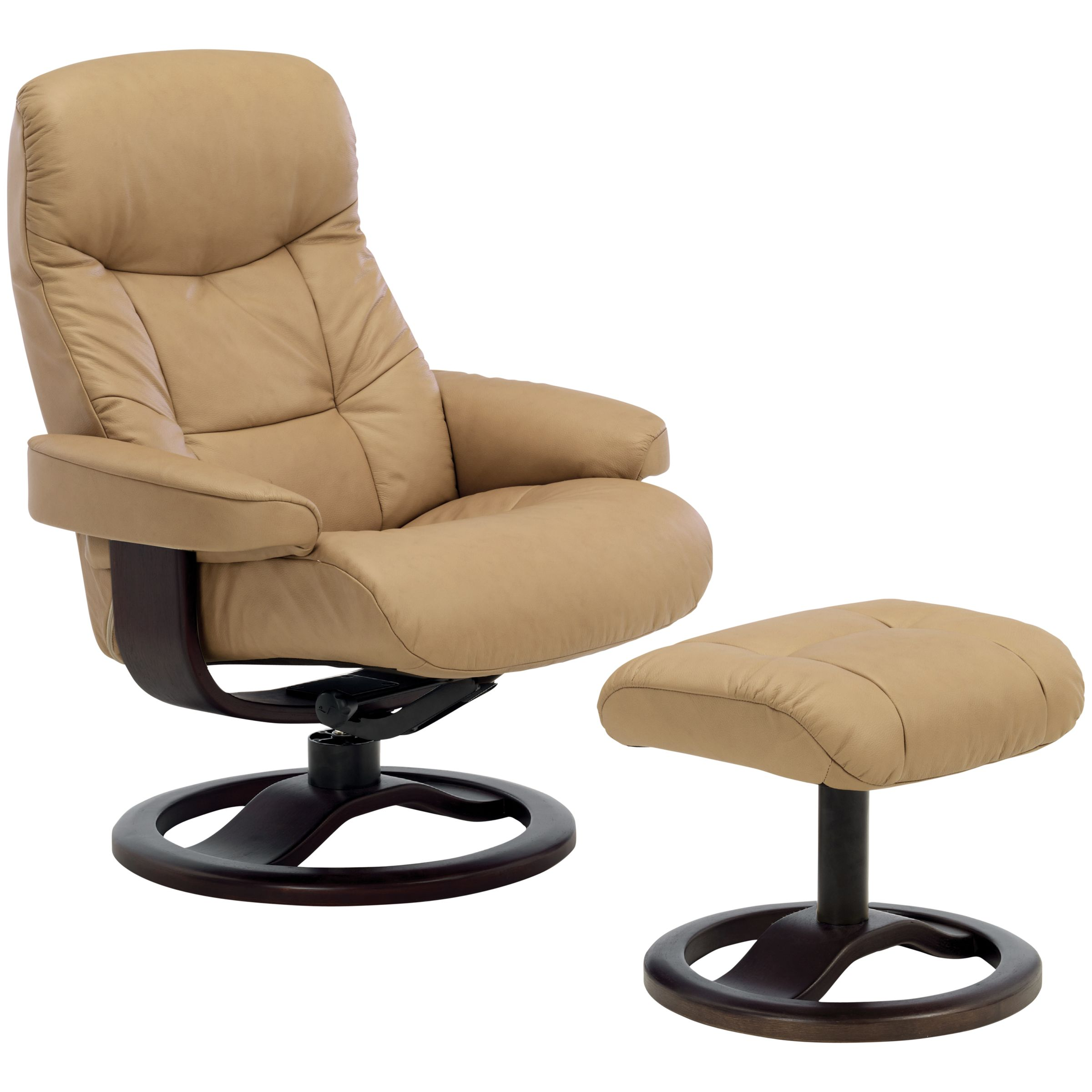 John Lewis Oslo Swivelling Recliner Armchair And Stool, Espresso Base, Sandel