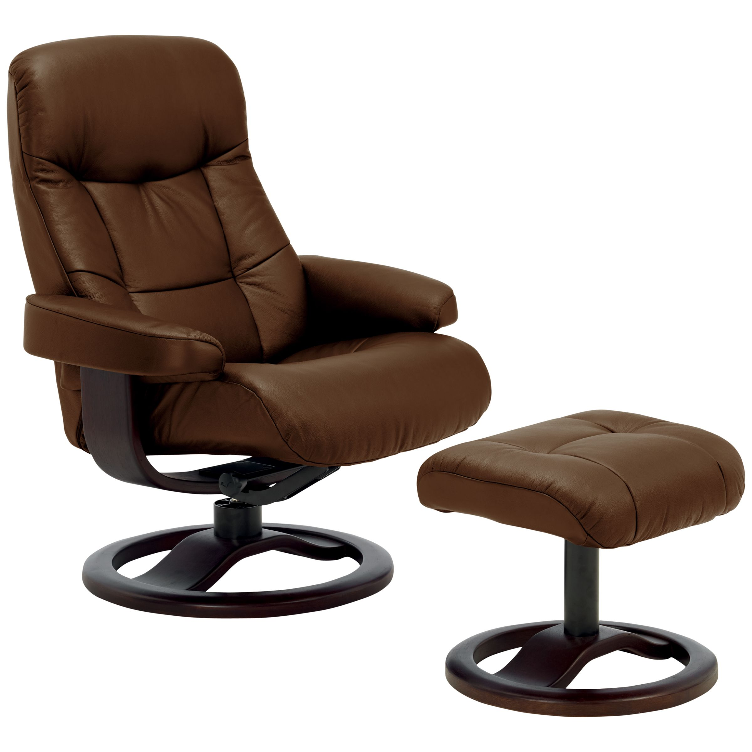 John Lewis Oslo Swivelling Recliner Armchair And Stool, Espresso Base, Walnut