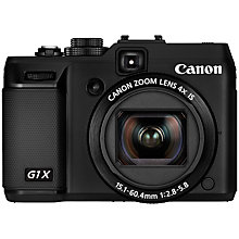 "Buy Canon PowerShot G1 X Digital Camera, HD 1080p, 14.3MP, 4x Optical Zoom, 3"" LCD Screen, Black Online at johnlewis.com"
