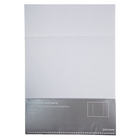 Buy John Lewis A5 Wardrobe Card Inserts, Pack of 10, Pearl Online at johnlewis.com
