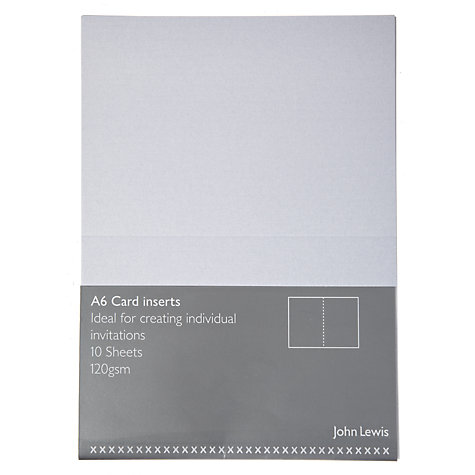 Buy John Lewis Invitation Inserts, A6, Pack of 10, Pearl Online at johnlewis.com
