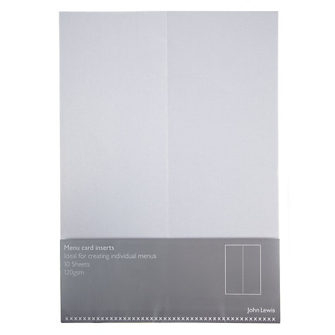 Buy John Lewis Menu Inserts, A5, Pack of 10, Pearl Online at johnlewis.com