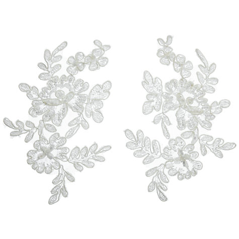 Buy John Lewis Beaded Applique Tulles, Ivory, Pack of 2 Online at johnlewis.com
