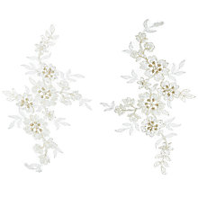 Buy John Lewis Beaded Applique Tulles, Cream, Pack of 2 Online at johnlewis.com
