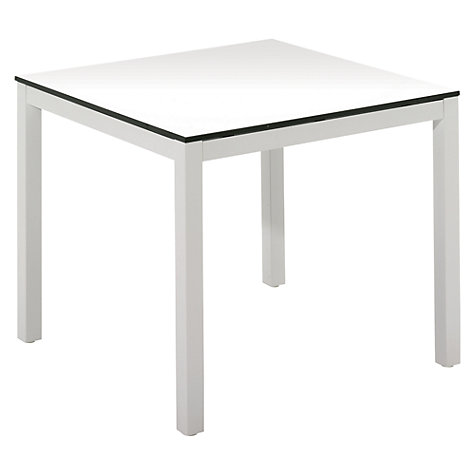 Buy Gloster Riva Square 4 Seater Outdoor Dining Table, White Glass/Crystal White Online at johnlewis.com