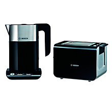Buy Bosch Styline TWK8633GB Kettle and TAT8613GB 2-Slice Toaster, Black Online at johnlewis.com