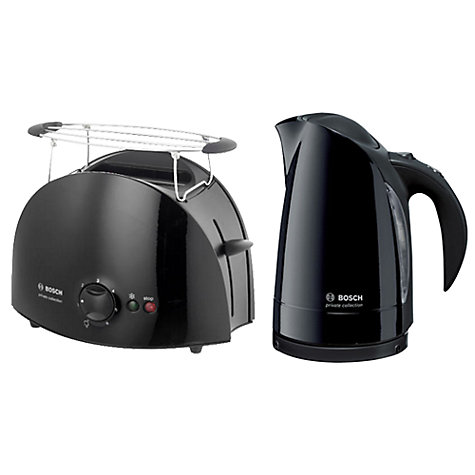 Buy Bosch Private Collection TWK6033GB Kettle and TAT6103GB 2-Slice Toaster, Black Online at johnlewis.com