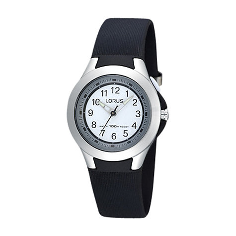 Buy Lorus R2305FX9 Boy's Illuminator Sports Leather Strap Watch, Black Online at johnlewis.com