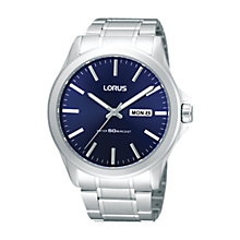 Buy Lorus RXN65CX9 Men's Blue Dial Steel Bracelet Watch, Silver Online at johnlewis.com