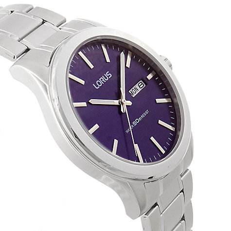 Buy Lorus RXN65CX9 Men's Day Date Bracelet Strap Watch, Silver/Blue Online at johnlewis.com